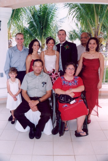 Nana and the gang celebrating mom and dad's wedding in Mexico