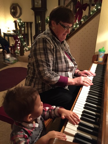 Playing a duet with Grandma Goodenough