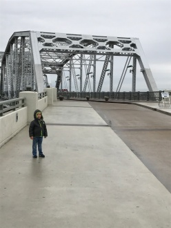 Walking the pedestrian bridge