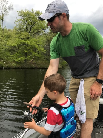 Teaching Dad how to fish.