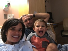 Movie night in mom's hospital bed!