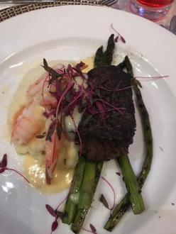 Filet Mignon and Shrimp with mashed potatoes and asparagus? Yes, please!