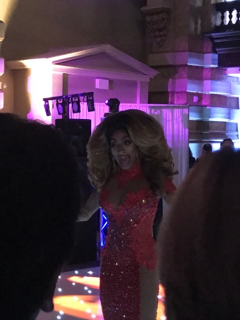 "Drag Queen performing Whitney Houston's ""I Will Always Love You."""