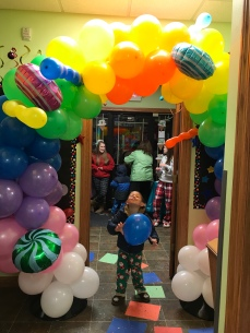 The rainbow balloon bridge!