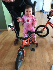G learned how to ride a bike