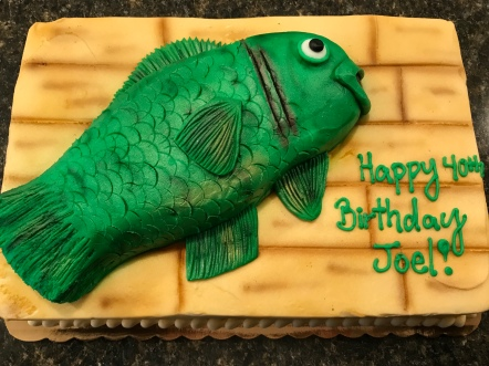 The fish cake, with extra buttercream frosting!