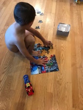 Sometimes I was so excited to play with puzzles that I refused to waste time getting dressed first.