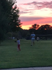 Frisbee at sunset