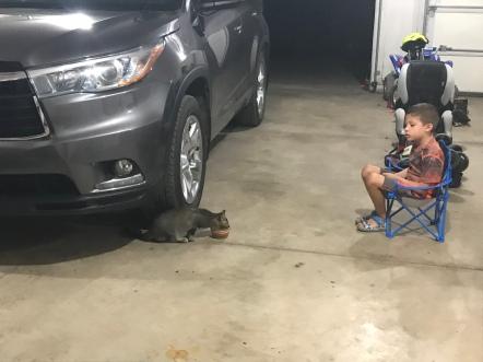 Making sure Charlie drinks his milk