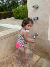 G loved the outdoor showers