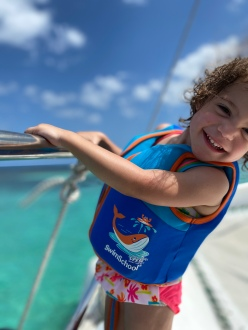 G trying to get off the catamaran